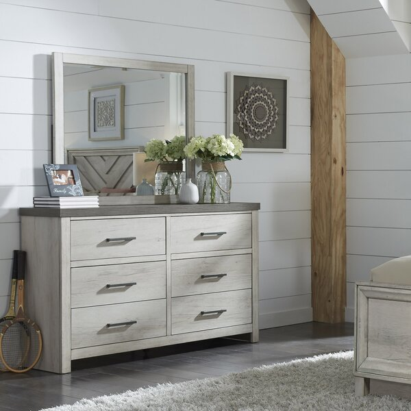 Pinar 6 Drawer Double Dresser with Mirror by Gracie Oaks