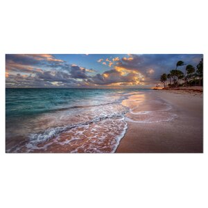 'Palm Trees on Clear Sandy Beach' Photographic Print on Wrapped Canvas by Design Art