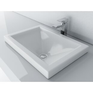 Vitreous China Rectangular Drop-In Bathroom Sink with Overflow ByCantrio Koncepts