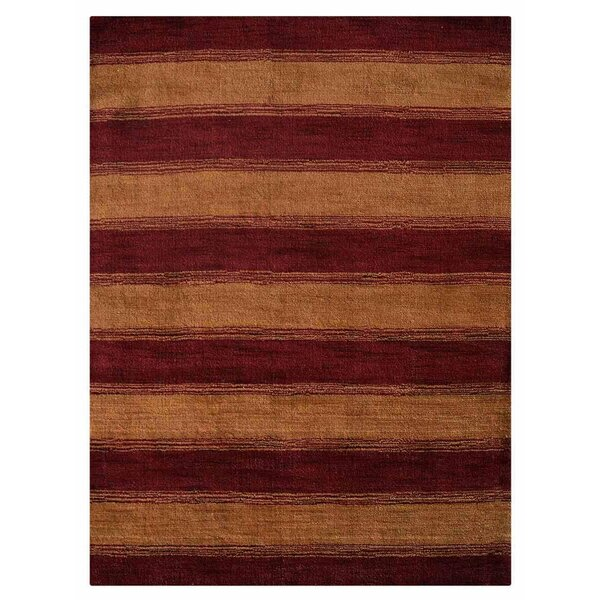 Zonia Hand-Knotted Wool Red/Gold Area Rug by World Menagerie