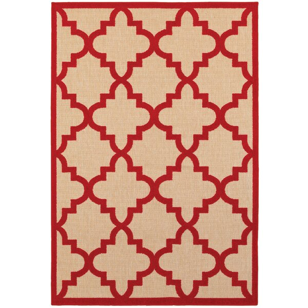 Winchcombe Sand/Cherry Red Outdoor Area Rug by Charlton Home