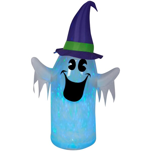 Clear Ombre Projection Kaleidoscope Ghost with Witch Hat Inflatable by The Holiday Aisle