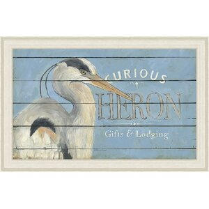'Coastal Heron Blue' Framed Graphic Art by Ashton Wall Décor LLC