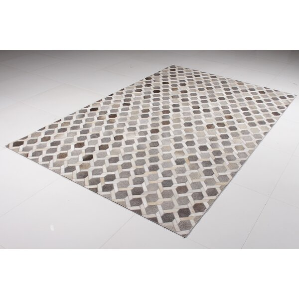 Berman Cowhide Gray Area Rug by Brayden Studio