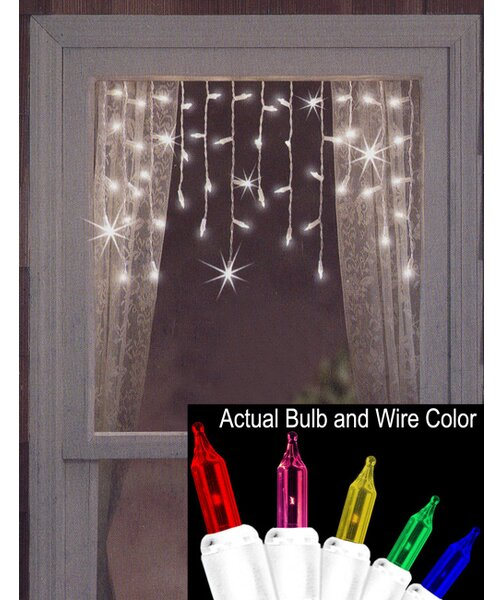 50 Twinkling and Shimmering Window Curtain Icicle Light String by The Holiday Aisle