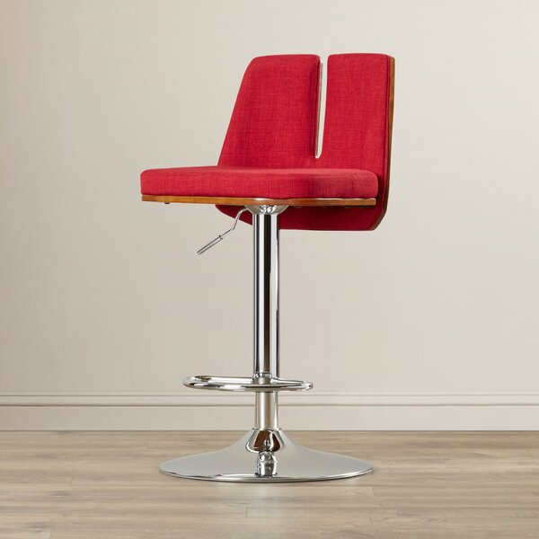Fleckenstein Adjustable Height Swivel Bar Stool by Mercury Row