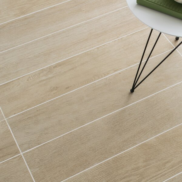 Harmony Grove 6 x 36 Porcelain Wood Look Tile in Oak Champagne by PIXL