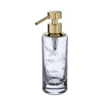 Cylinder Carved Small Round Frosted Crystal Glass Soap Dispenser by Windisch by Nameeks