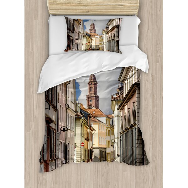 European Heidelberg Old City Streets Picturesque Town with Medieval Architect Panorama Duvet Set by East Urban Home