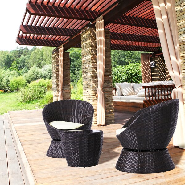 Simonsen 3 Piece Rattan Swivel Seating Group with Cushion by Wrought Studio