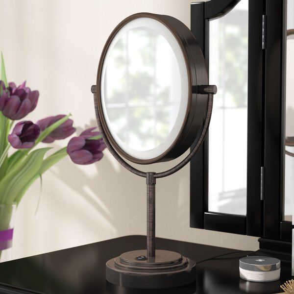 Double Sided Lighted Makeup/Shaving mirror by Three Posts