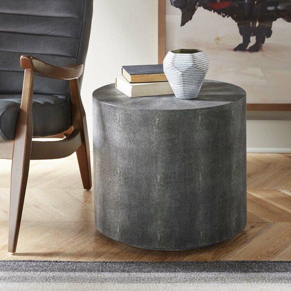 Shagreen Drum End Table By Corrigan Studio