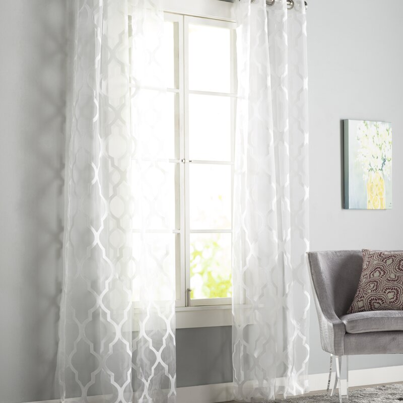 Halsey Geometric Sheer Grommet Single Curtain Panel