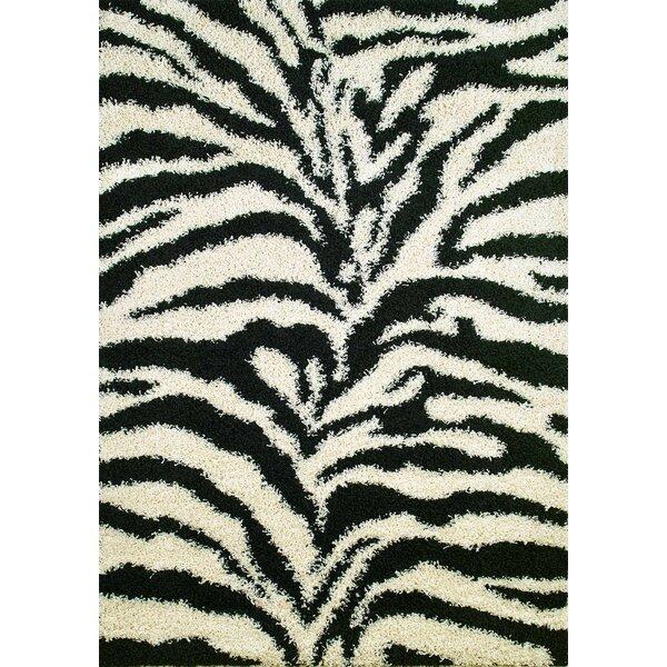 Shaggy Zebra Black & White Area Rug by Threadbind