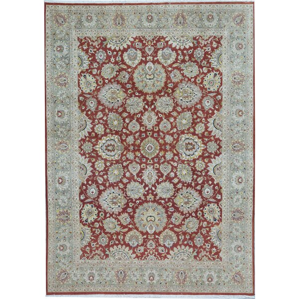 Oriental Hand-Knotted Wool Rust/Green Area Rug