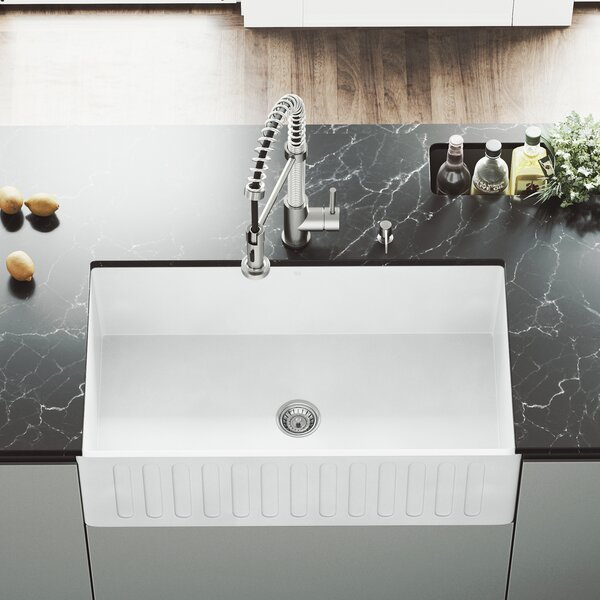 VIGO Matte Stone 33 L x 18 W Farmhouse Kitchen Sink with Faucet by VIGO