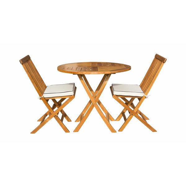 Stanwood 3 Piece Teak Sunbrella Bistro Set with Cushions by Highland Dunes