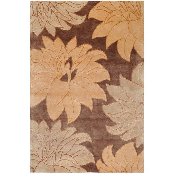 Luna Brown Floral Area Rug by Ebern Designs