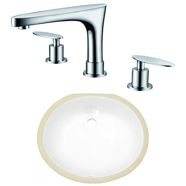 Ceramic Oval Undermount Bathroom Sink with Faucet and Overflow by American Imaginations