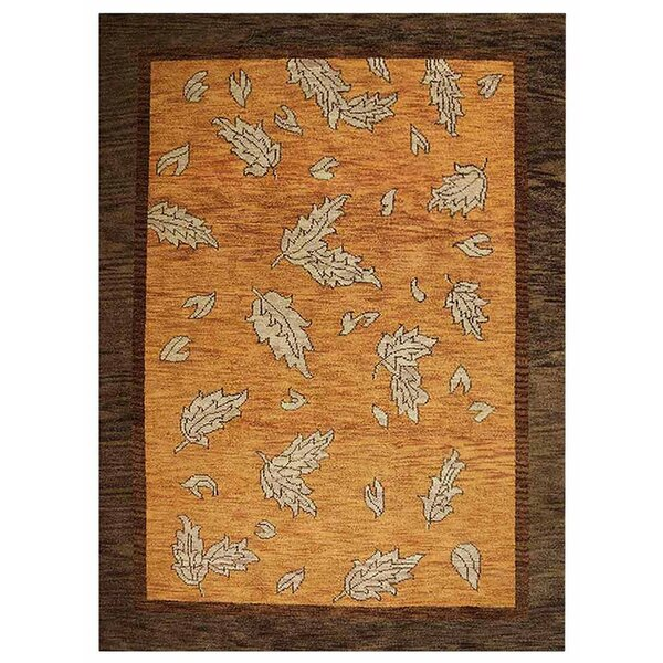 Campuzano Floral Hand-Knotted Wool Orange/Brown Area Rug by Red Barrel Studio