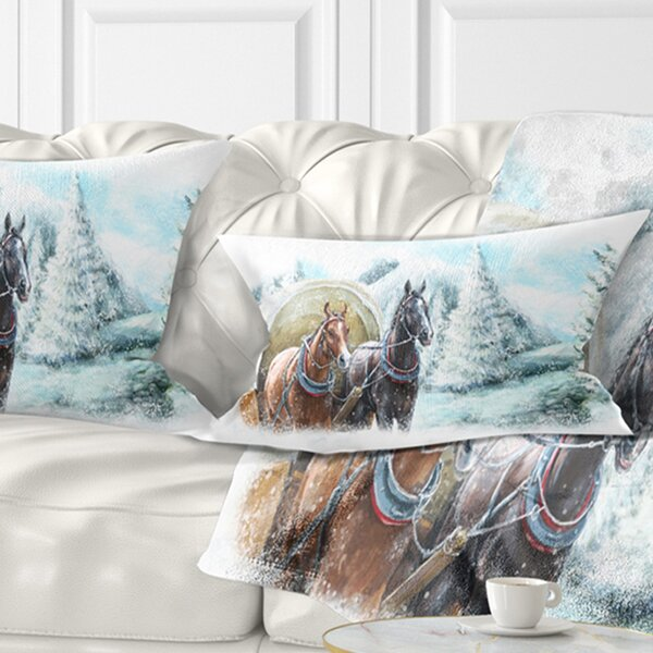 Landscape Printed Painted Scene with Horses in Winter Lumbar Pillow by East Urban Home