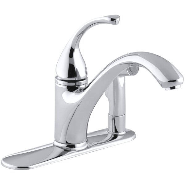 Forté 3-Hole Kitchen Sink Faucet with 9-1/16 Spout with Matching Finish Sidespray In Escutcheon by Kohler