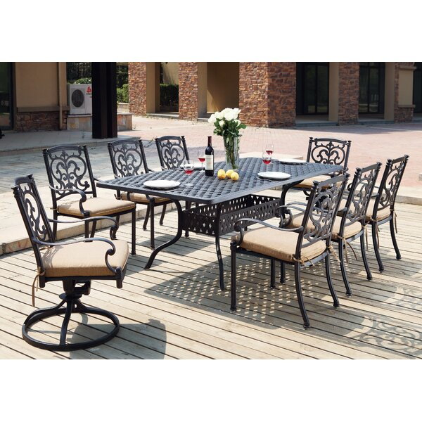 Palazzo Sasso Traditional 9 Piece Dining Set with Cushions by Astoria Grand