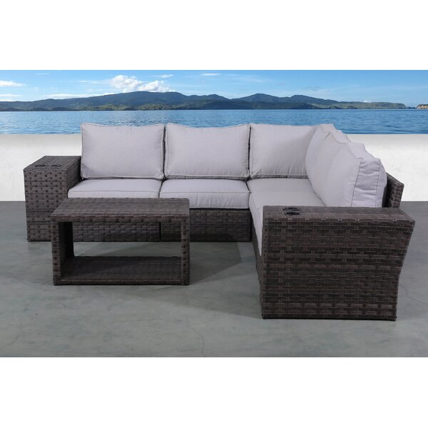 Cochran 8 Piece Rattan Sectional Seating Group with Cushions by Rosecliff Heights
