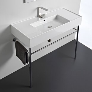 Best Reviews Ceramic 40'' Console Bathroom Sink with Overflow By Scarabeo by Nameeks