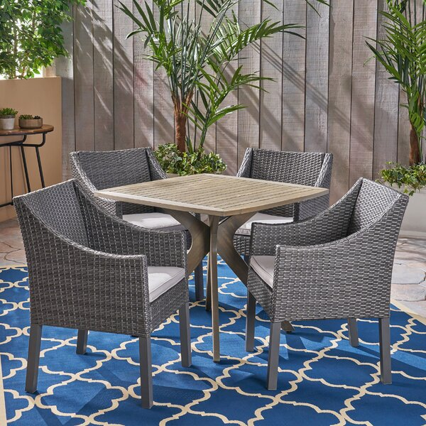Sherise Outdoor 5 Piece Dining Set with Cushions by Gracie Oaks