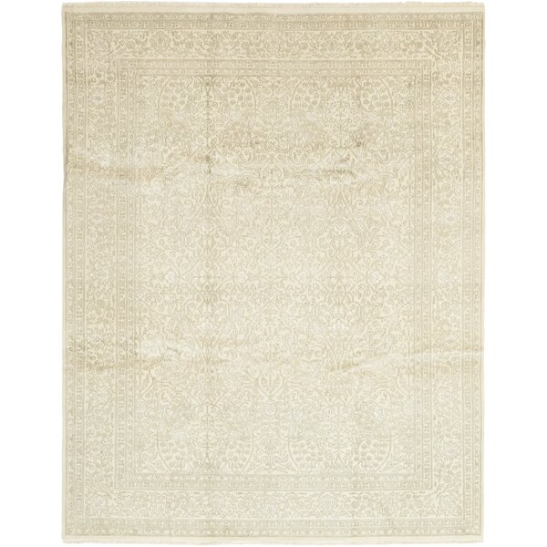 One-Of-A-Kind Dianna Hand-Knotted Wool/silk Beige Indoor Area Rug By Isabelline.