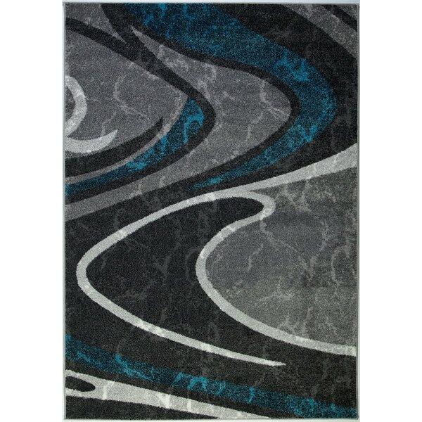 Spruill Spirals Turquoise/Dark Gray Area Rug by Orren Ellis