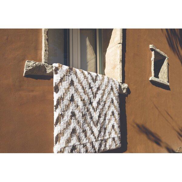 Munson Ikat Rectangle 100% Cotton Non-Slip Chevron Bath Rug