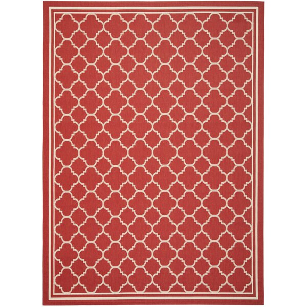 Short Red Indoor/Outdoor Power Loomed Area Rug by Winston Porter