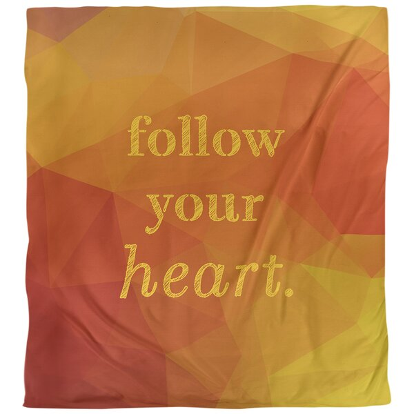 Quotes Faux Gemstone Follow Your Heart Single Reversible Duvet Cover