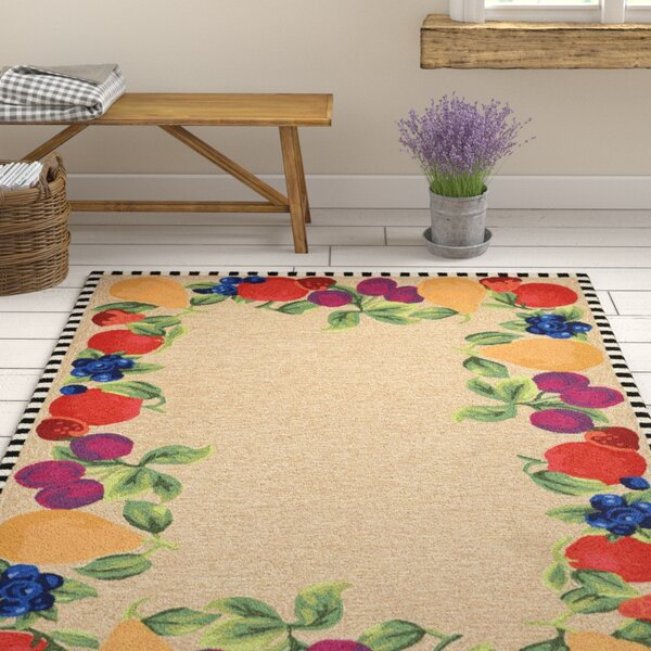 Calderon Fruits Hand-Tufted Beige/Green Indoor/Outdoor Area Rug by August Grove