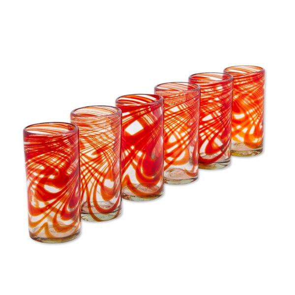 Terresa Crimson Serpentines 13 oz. Highball Glass (Set of 6) by Latitude Run