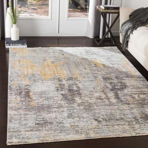 Mckeel Abstract Gray/Orange Area Rug by Williston Forge