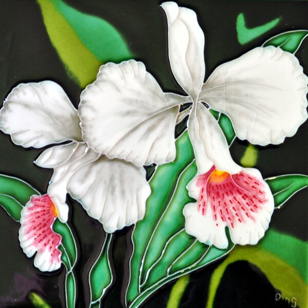 Single White Orchid Tile Wall Decor by Continental Art Center