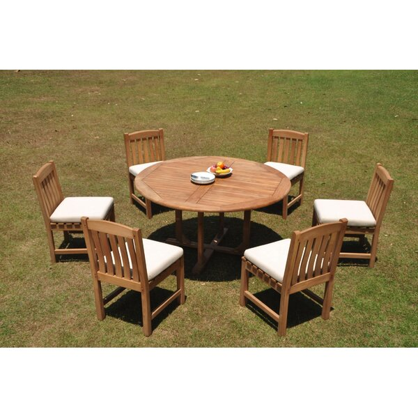 Paulding 7 Piece Teak Dining Set by Rosecliff Heights