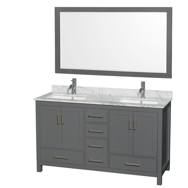 Sheffield 60 Double Bathroom Vanity Set with Mirror by Wyndham Collection