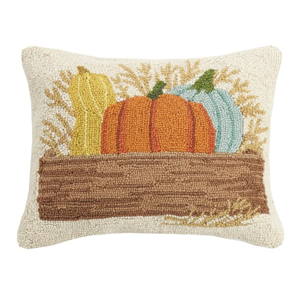 Murguia Box of Pumpkins Wool Throw Pillow by August Grove