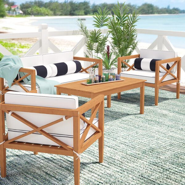 Delray 4 Piece Teak  Sofa Set with Cushions by Beachcrest Home