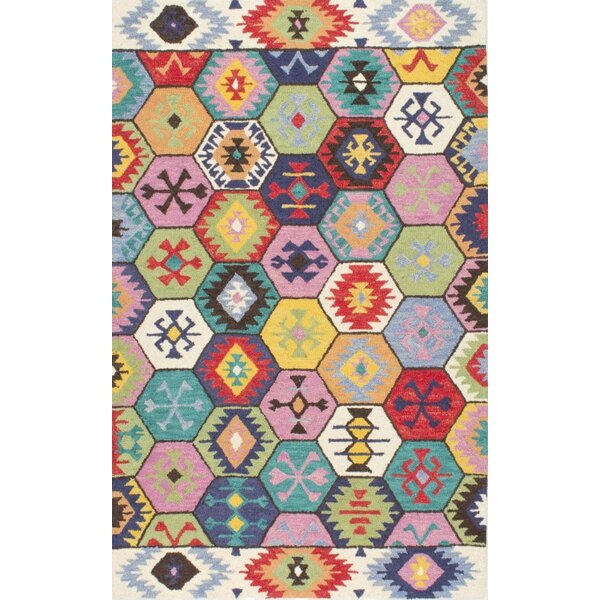 Toubqal Hand-Tufted Pink/Blue/Red Area Rug by Bungalow Rose
