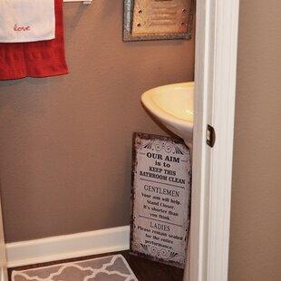 Bathroom Wall Signs | Wayfair on vintage artwork for bathroom, magnets for bathroom, wall plaques kitchen, key holders for bathroom, water features for bathroom, home decor for bathroom, paintings for bathroom, night lights for bathroom, tools for bathroom, signs for bathroom, prints for bathroom, brown bathroom, floor lamps for bathroom, ornaments for bathroom, furniture for bathroom, cabinets for bathroom, frames for bathroom, art for bathroom, mirrors for bathroom, christmas for bathroom,