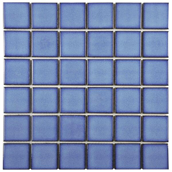 Watrerfall 2 x 2 Porcelain Mosaic Tile in Cerulean by EliteTile