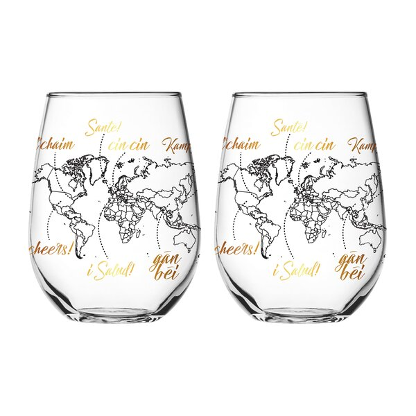 Global Cheers 2 Piece Every Day Glass Set (Set of 2) by Vandor LLC