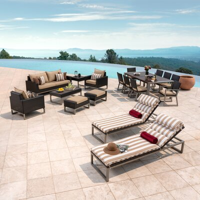 Corrigan Studio Rattan Sunbrella Complete Patio Set Cushions Frame Color Seating Groups
