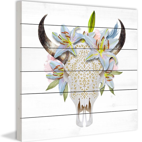 Floral Crown Skull Painting Print on Wood by Marmont Hill