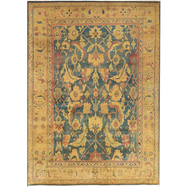 One-of-a-Kind Agra Quality Hand-Knotted Wool Light Yellow/Aqua Indoor Area Rug by Mansour